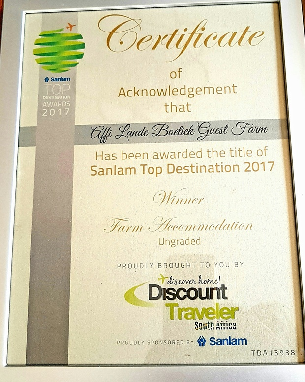 Top accommodation award for winner in best farm accommodation category